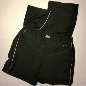 Charcoal Gray Nike Track Pants with Pink Stripe